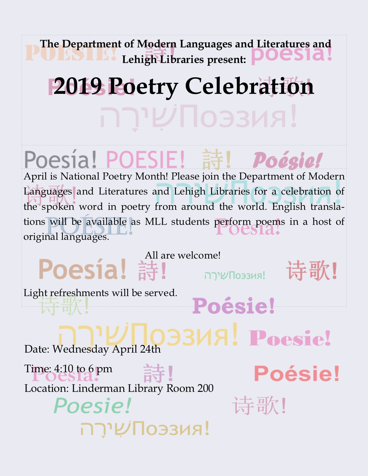 2019 Poetry Celebration | Department of Modern Languages